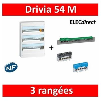Legrand - Coffret DRIVIA 54 Modules - 3 Rangées de 18M - largeur 355mm - 401223