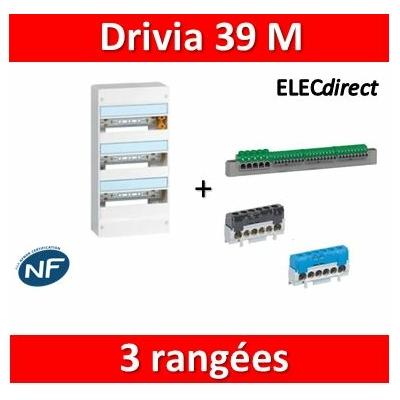 Legrand - Coffret DRIVIA 39 Modules - 3 Rangées de 13M - largeur 250mm - 401213