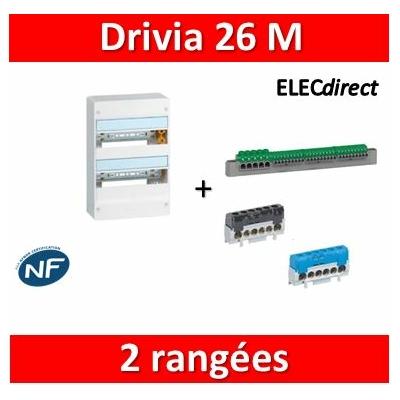 Legrand - Coffret DRIVIA 26 Modules - 2 Rangées de 13M - largeur 250mm - 401212