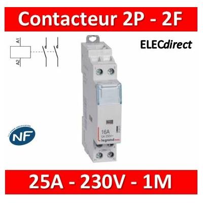 Legrand - Contacteur de puissance bipolaire bobine 230V - 25A - 2F - 412523