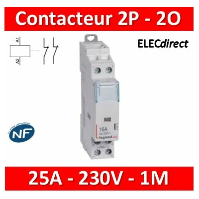 Legrand - Contacteur de puissance bipolaire bobine 230V - 25A - 2O - 412524