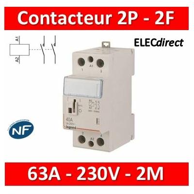Legrand - Contacteur de puissance bipolaire bobine 230V - 63A - 2F - 2M - 412547