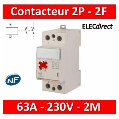 Legrand - Contacteur bobine 230V - 2P - 250V 63A - 2F - 2M - 412527