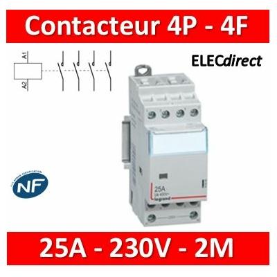 Legrand - Contacteur de puissance 4P bobine 230V - 25A - 4F - 2M - 412535