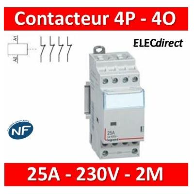 Legrand - Contacteur de puissance bobine 230 V~ - 4P - 400 V~ - 25 A - 4 O - 2 mod - 412536