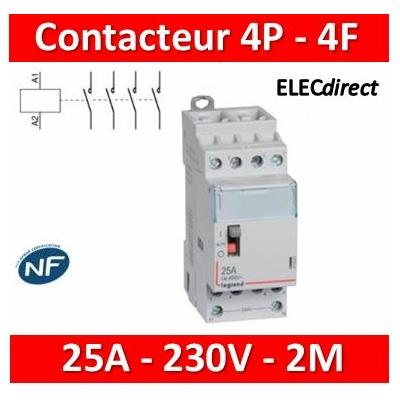Legrand - Contacteur de puissance 4P bobine 230V - 25A - 4F - 2M - 412551
