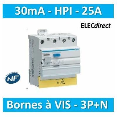HAGER - Interrupteur différentiel 3P+N 25A 30mA HI BD - CDH825F