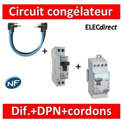 LEGRAND - Interrupteur Différentiel 2P - 40A - 30ma Type HPI + DPN 16A + cordons PH+N - 411623+406774+404903