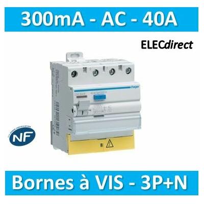 HAGER - Interrupteur différentiel 3P+N 40A 300mA AC - CFC840F