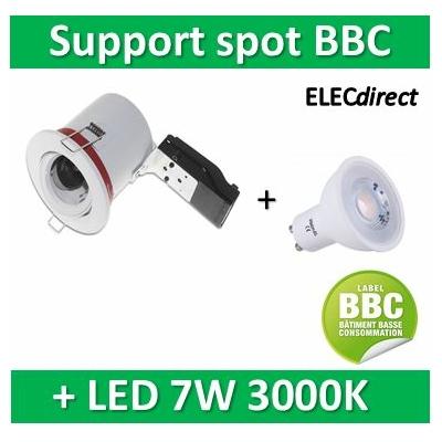 Vision EL - Kit spot encastré BBC Orientable blanc 7W - 3000K dimmable