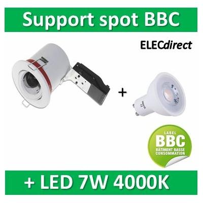 Vision EL - Kit spot encastré BBC Orientable blanc 7W - 4000K dimmable