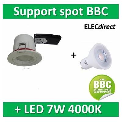 Vision EL - Kit spot encastré BBC Fixe blanc 7W - 4000K dimmable
