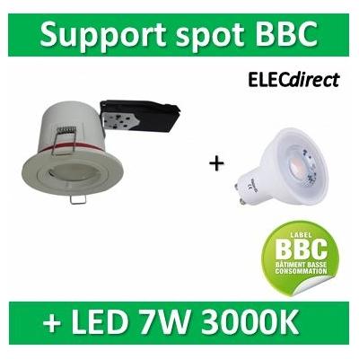 Vision EL - Kit spot encastré BBC Fixe blanc 7W - 3000K dimmable