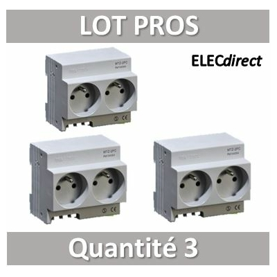 Digital Electric - LOT PROS - Prise modulaire double 2 x 2P+T 16A 250V  à éclips - 04564x3