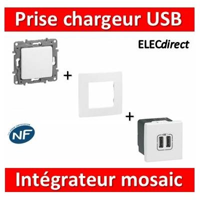 Legrand Niloé - Prise chargeur USB 230V / 5V - 2 Ports intégrateur Mosaic - 077594+665001+665195
