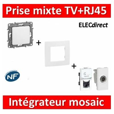 Legrand Niloé - Prise TV + RJ45 Cat. 6 FTP intégrateur Mosaic - complet