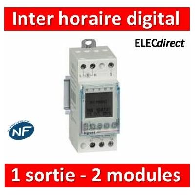 Legrand - Inter horaire digital  programmable pour illuminations extérieures - 1 sortie 16A 250V~ - 2M - 412654