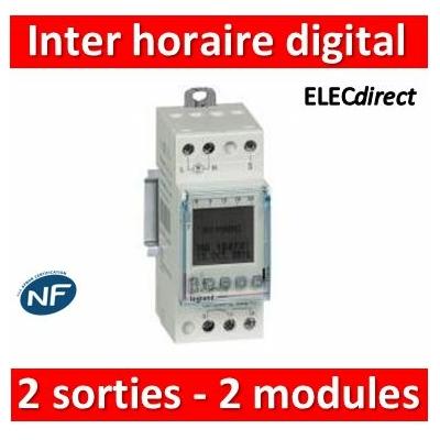 Legrand - Inter. horaire digital modulaire pro. pour illuminations extérieures - 2 sorties 16A 250V~ - 2M - 412657