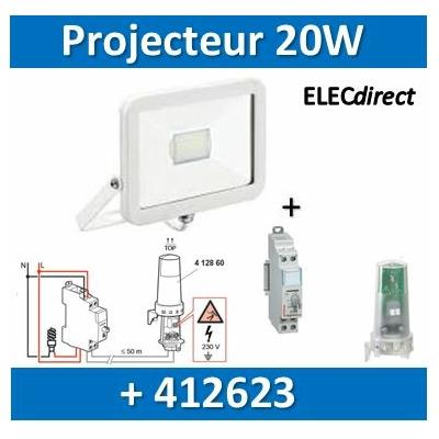 Aric - Projecteur orientable LED Wink - 20W - 4000K + interrupteur crépusculaire - Blanc - 50390+412623