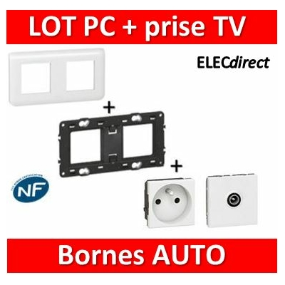 Legrand Mosaic - PC + prise TV  complet - 2 postes (2x2M) - 230V