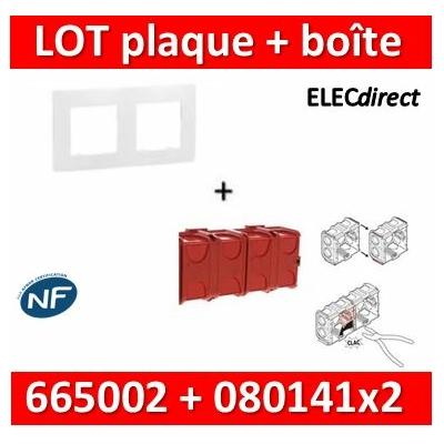 Legrand Niloé - Plaque 2 postes + Boîte Batibox à sceller Legrand 2 postes - Hor/vert - 665002+080141x2