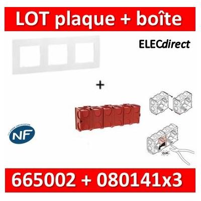 Legrand Niloé - Plaque 3 postes + Boîte Batibox à sceller Legrand 3 postes - Hor/vert - 665003+080141x3