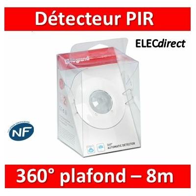 Legrand - Détecteur de mouvement PIR 360° portée 8m IP41 - Plafond - Blanc - encastré - 048944