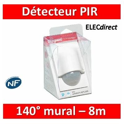 Legrand - Détecteur de mouvement PIR 140° portée 8m IP41 - Mural - Blanc - saillie - 048945