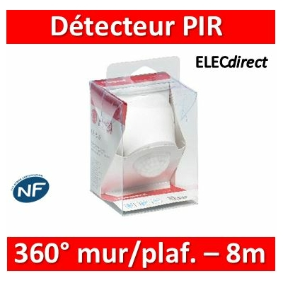 Legrand - Détecteur de mouvement PIR 360° portée 8m IP55 - Mural/plafond - Blanc - saillie - 048946
