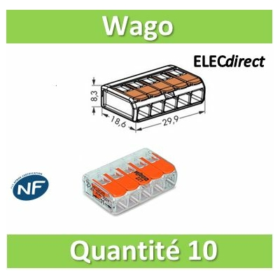 WAGO - Boîte de 10 Bornes auto fils Souple / Rigide 5 x (0.08 à 4mm2) - WAG 221-415x10