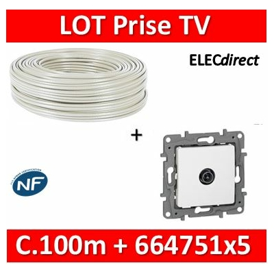Legrand Niloé - LOT Câble TV 100m + 5 Prises simple Blanc - Câble TV+664751x5