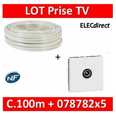 Legrand Mosaic - LOT câble TV 100m + 5 Prises TV simple - Mâle - câble TV+078782x5