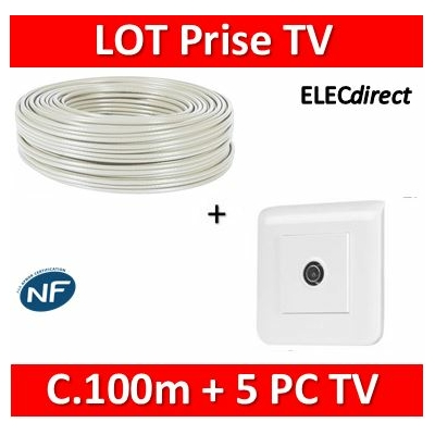 Legrand Mosaic - LOT câble TV 100m + 5 Prises TV simple + plaque - Mâle - câble TV+078782x5+078802x5