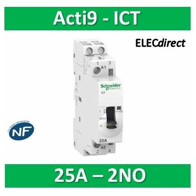 Schneider - Acti9, iCT contacteur à commande manuelle 25A 2NO 230-240VCA  - A9C21732