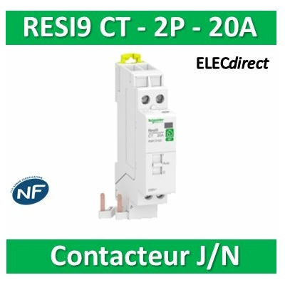 Schneider - Contacteur RESI9 CT J/N heures creuses Bipolaire - 2F - 20A - R9PCTH20