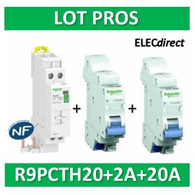 Schneider - LOT PROS - Contacteur J/N heures creuses + DPN 2A XE + DPN 20A XE - R9PCTH20+16724+16727