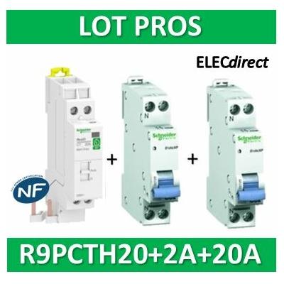 Schneider - LOT PROS - Contacteur J/N heures creuses + DPN 2A XP + DPN 20A XP - R9PCTH20+20724+20727