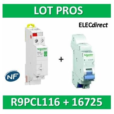Schneider - Télérupteur RESI9 TL - Unipolaire 16A + disjoncteur 10A XE AUTO - 250V - R9PCL116+16725