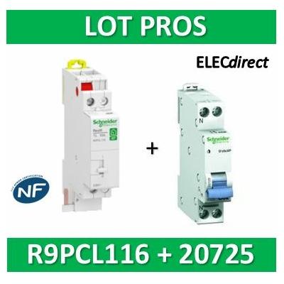 Schneider - Télérupteur RESI9 TL - Unipolaire 16A + disjoncteur 10A XP - 250V - R9PCL116+20725