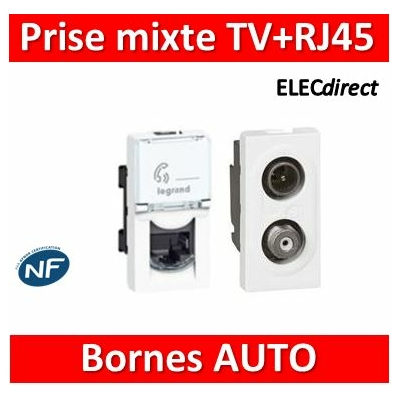 Legrand Mosaic - Prise RJ45 Cat. 6 FTP + Prise TV/SAT simple - 076562+078795