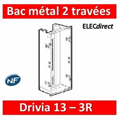 Legrand - Bac métal 2x13 Drivia 13 - 2 travées - coffret 3R + platine + coffret com. - 401449