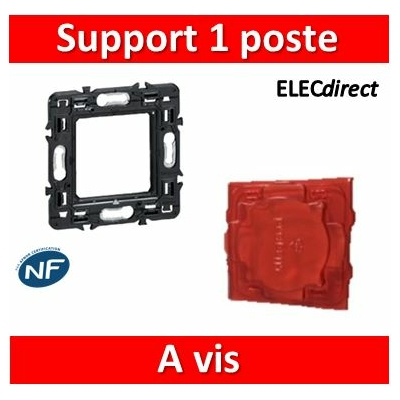 Legrand - Support simple 1 poste (2M) - Mosaic/Céliane - Fixation VIS - 080251