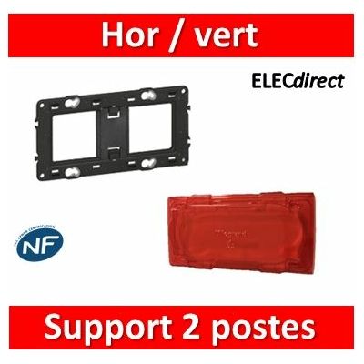 Legrand - Support 2 postes (4M) - Mosaic/Célaine - Fixation VIS - 2 x 2 modules - 080252