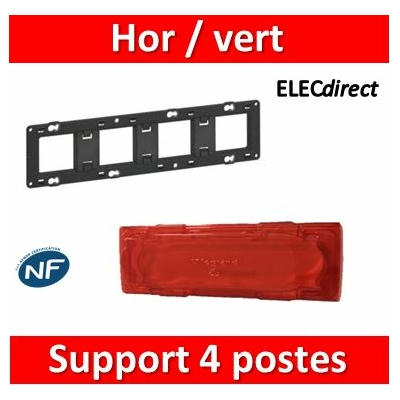 Legrand - Support 4 postes (8M) - Mosaic/Céliane - Fixation VIS - 4 x 2 modules - 080254