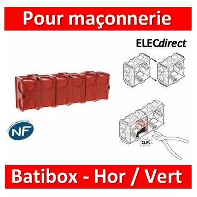 Legrand Batibox - Boîte à sceller 4 postes associable Hor/vert - 080141x4
