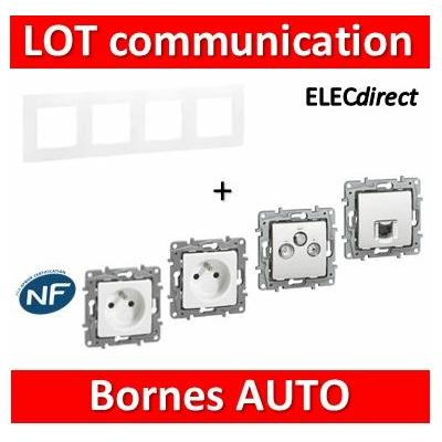 Legrand Niloé - Lot plaque quadruple + 2 PC + 1 prise TV/R/SAT + 1 prise RJ45 Cat.6 STP complet