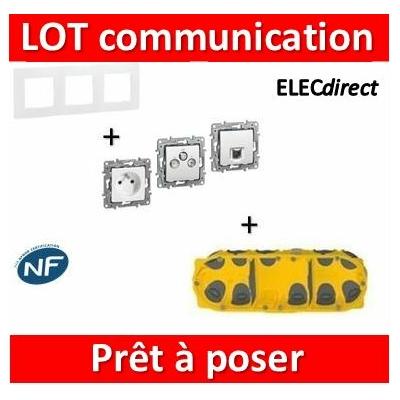 Legrand Niloé - Lot plaque triple + PC + 1 prise TV/R/SAT + 1 prise RJ45 + boîte Batibox BBC