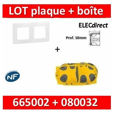 Legrand Niloé - Plaque 2 postes + Boîte Batibox BBC Legrand 2 postes - Hor/vert - 665002+080032