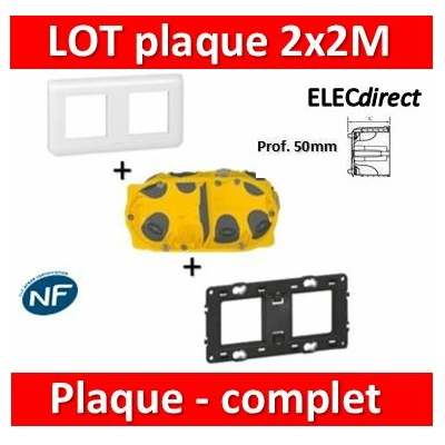 Legrand Mosaic - LOT - Plaque 2x2 modules - horizontal - 078804+080252+080032