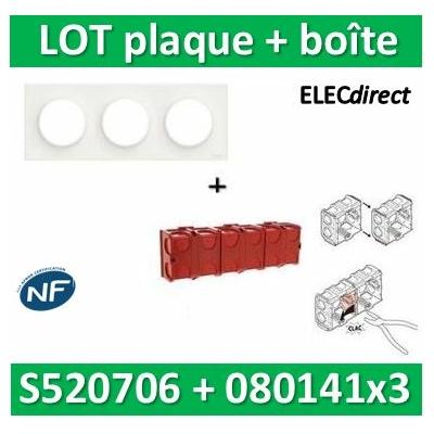 Schneider Odace - Plaque 3 postes + Boîte Batibox à sceller Legrand 3 postes - Hor/vert - s520706+080141x3